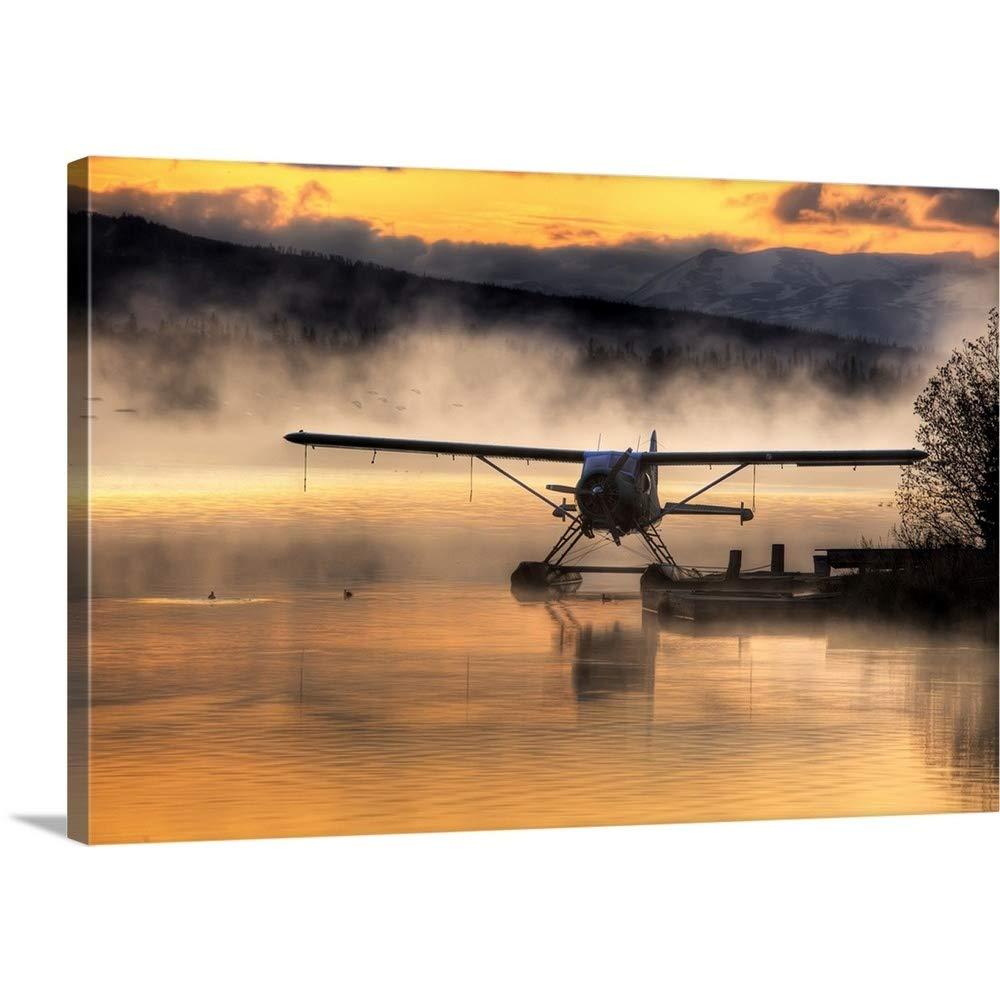 マイククリスプレミアムシックラップキャンバス壁アート印刷題名Floatplane Sitting on Beluga湖、Homer、Kenai半島、アラスカ、 48
