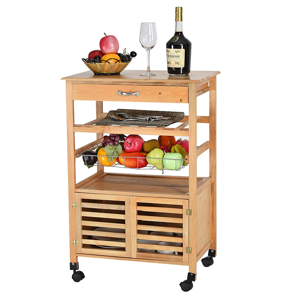 Serving Trolleys Home Kitchen Iseasy Portable Natural Bamboo Cabinet Storage Cabinet Wine Storage Trolley Cart With Drawer Cart Rack Wheels Storage Trolley Cart