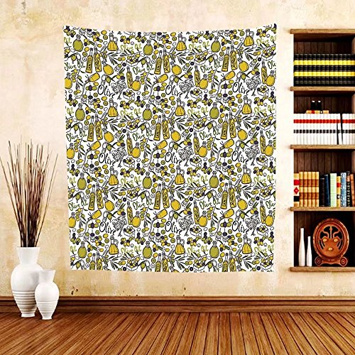 Gzhihine Custom tapestry Tapestry Olives Oil Bottles Organic Food and Plant Branches Hand Drawn Doodle for Bedroom Living Room Dorm Yellow Navy Blue Green