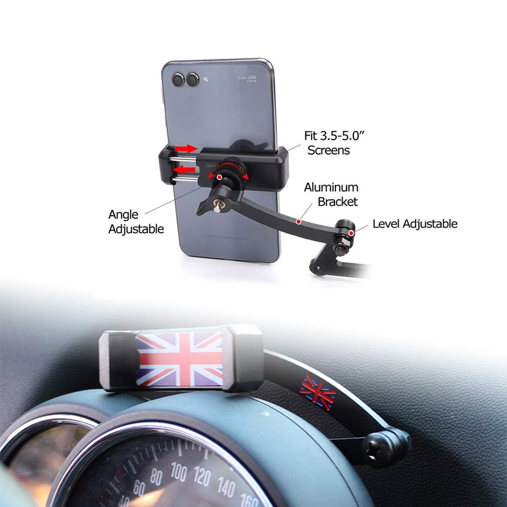 PGONE Behind Tachometer Mount Smart Phone GPS Mounting Design Holder Kit for Mini CooperF54 F55 F56 F57 F60 Union Jack (Red & Blue Union Jack Flag Style) by PGONE (Image #2)