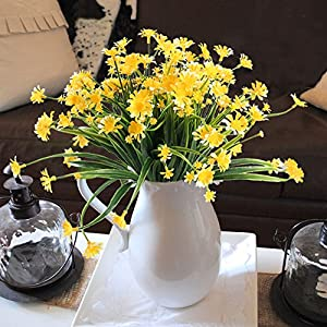 NAHUAA Fake Plants, 4PCS Artificial Daisy Flowers Greenery Bush Faux Plastic Wheat Grass Shrubs Table Centerpieces Arrangements Home Kitchen Office Indoor Outdoor Spring Decorations Yellow 3