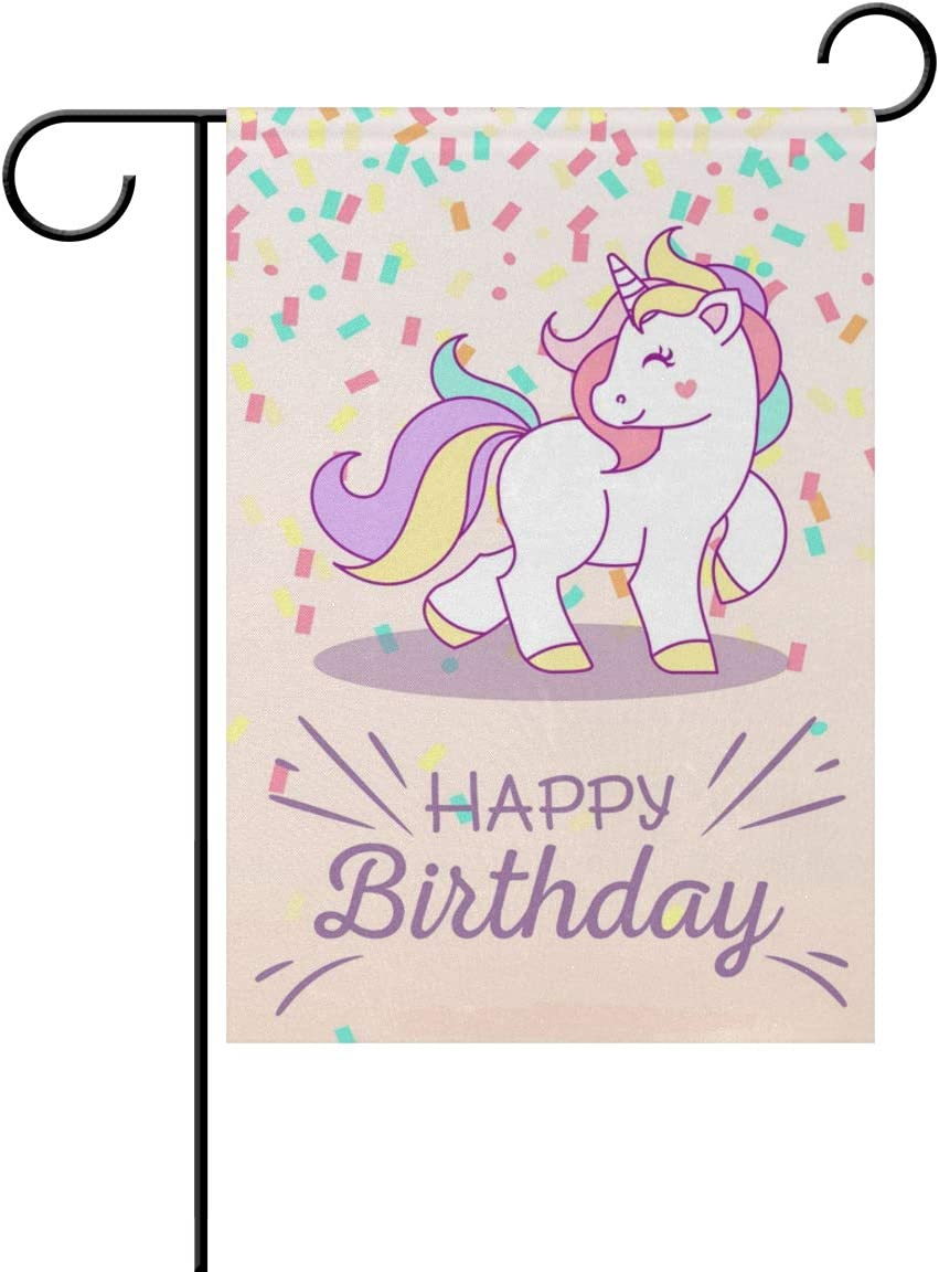 Hokkien Happy Birthday Unicorn Garden Flag Banner 12 x 18 Inch Decorative Garden Flag for Outdoor Lawn and Garden Home Décor Double-Sided