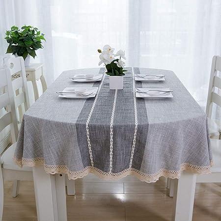 Paño de Mesa Oval Decora Algodón Y Lino Mantel Antimanchas for Boda Diseño deComedor (Color : Gray, Size : Oval 135 * 185cm): Amazon.es: Hogar