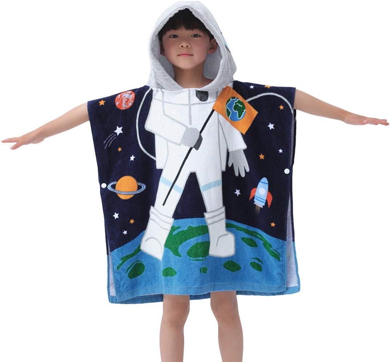 B07D7W2KFK Hoomall Kids Bath Towel for Boys Girls, Whale Pattern Child Hooded Beach Towel Fast Drying Ultra Absorbent Poncho for Bath/Pool/Beach Swim Cover (127x76cm, Blue Astronaut) 61ixVo0h3bL