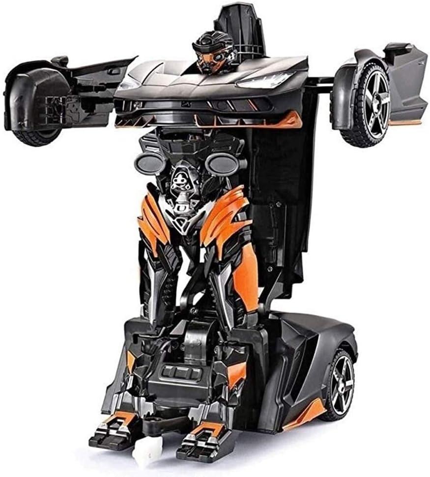 BJYG Coche RC, 4x4 Crawlers Transformers Optimus Prime Autobots con Arma RC Toy, Super Coche de Control Remoto inalámbrico de Carga por inducción, Robot de deformación 360 & deg;Speed