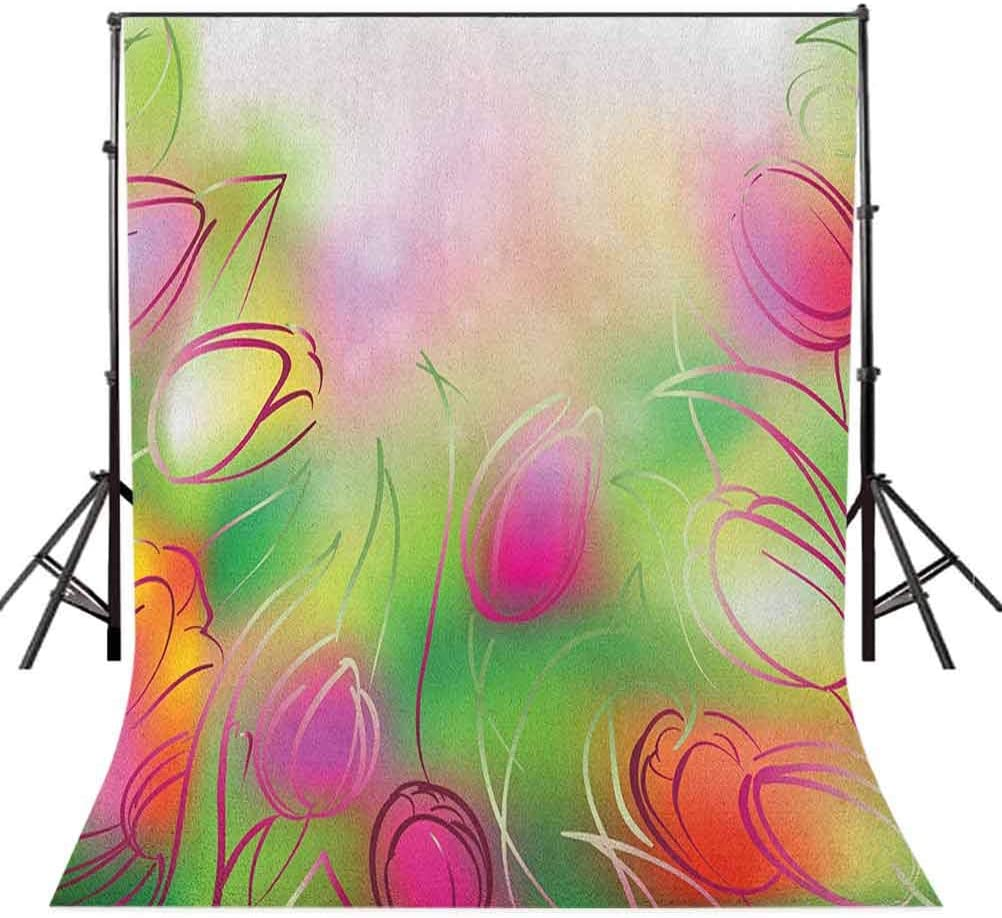 7x10 FT Flower Vinyl Photography Background Backdrops,Silhouettes of Tulips on a Dreamy Background Modern Graphic Print Art Urban Style Background for Photo Backdrop Studio Props Photo Backdrop Wall