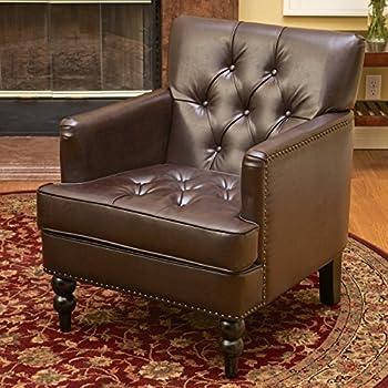 Medford Brown Leather Club Chair