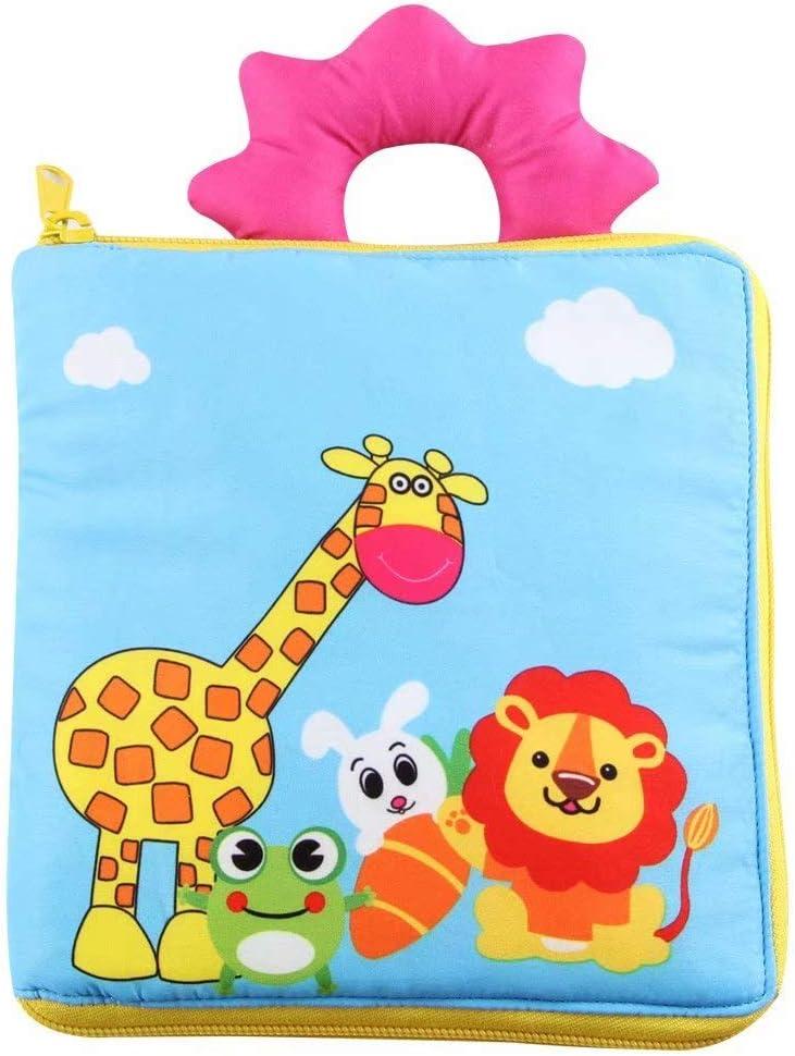 SANDIN Cloth Book Baby Gift beb/és Lindo Baby Shower Box ni?os y ni?as con Sonidos arrugados Fun Interactive Soft Book para beb/és Premium Baby Book Juguete de Desarrollo Touch and Feel Girl 19 19cm