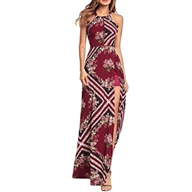 e60841bfb4 Ytwysj Womens Sexy Floral Print Halter Neck Sleeveless High High Slit Maxi  Dress Cocktail Evening Party Formal Dress at Amazon Women s Clothing store