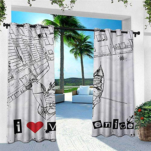 (leinuoyi Grunge, Outdoor Curtain Ends, Gondola Silhouette on Venetian Canal with I Love Venice Frame Illustration, for Gazebo W96 x L108 Inch Red Black White)