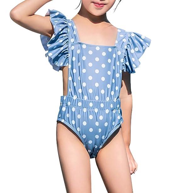 a1f9f623302 Amazon | (ブリスクスリー) BriskThree ガールズ水着 子供水着 女児水着 キッズ 女の子 オールインワン ワンピース水着 帽子付き  スイムウェア フリル | 水着 通販