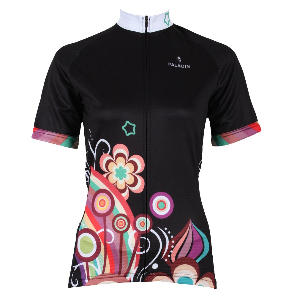 KMFEEL Cool Black Colorful Flowers Women Cycling Jersey Zipper Short Sleeve Sportswear KC-ShortJersey211