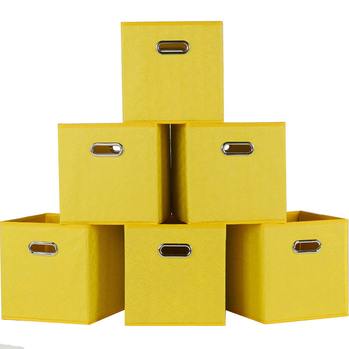 SHACO Durable Double Metal Handle Cloth Storage Cubes, Embossed with Rose Print Yellow Foldable Cube Fabric Drawer(6 Packs)