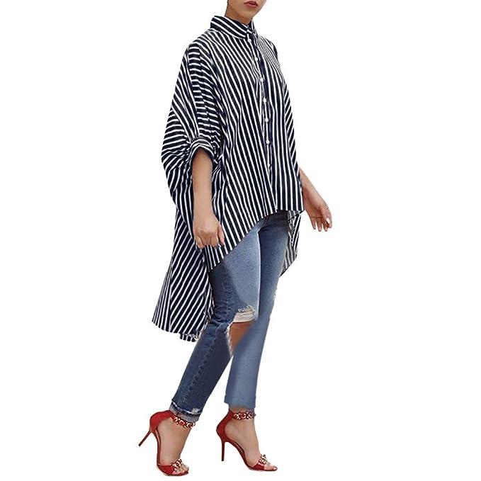 Camisa Larga Mujeres, Camisa de Manga Tres Cuartos a Rayas de algodón Blusa