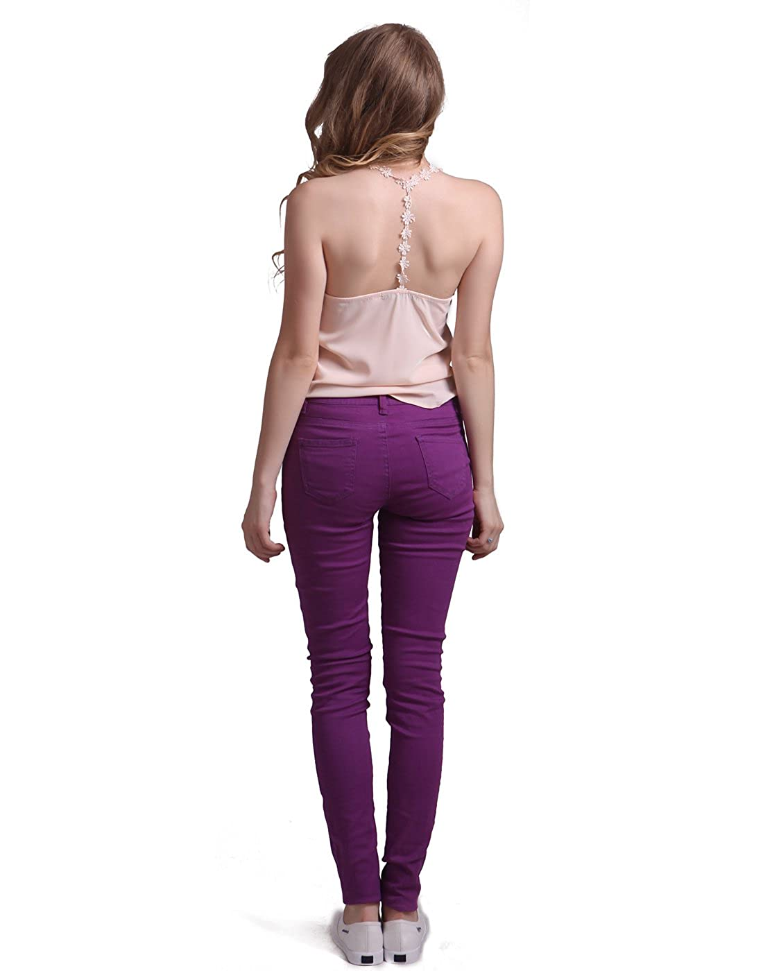HDE Womens Mid-Rise Stretchy Denim Slim Fit Skinny Jeans