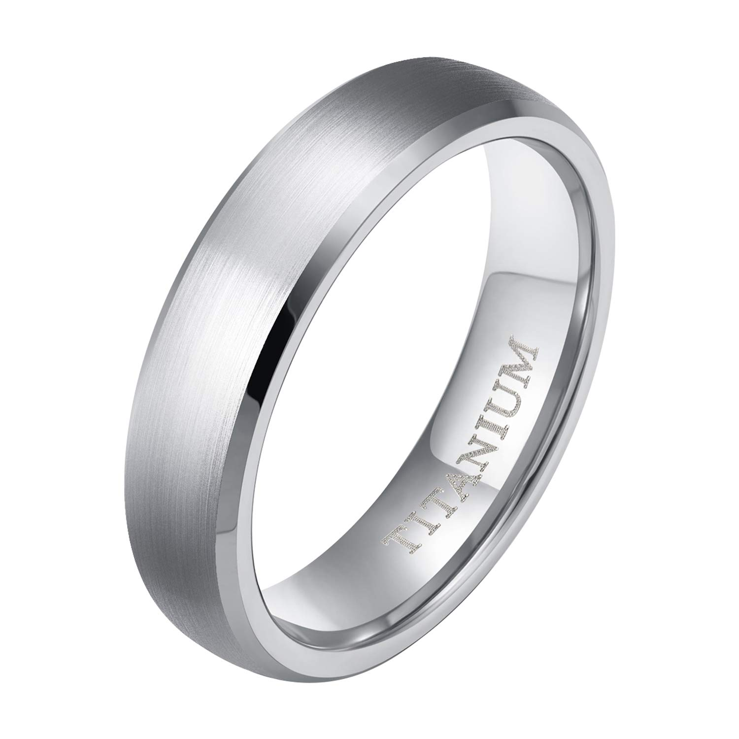 Amazon Tigrade 6mm8mm Titanium Ring Brushed Beveled Edge Fort Fit Wedding Band Jewelry: Beveled Edge Matte Wedding Ring At Reisefeber.org