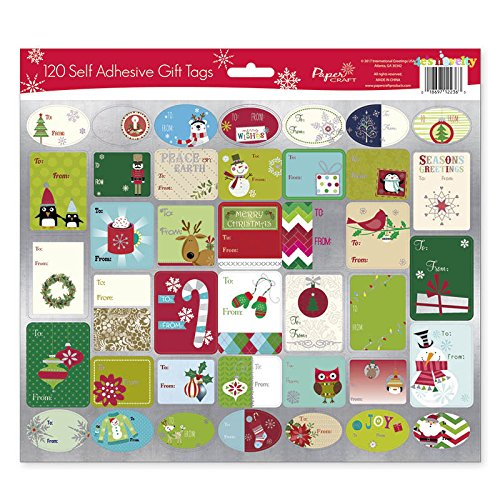 4E's Novelty Pack of 120 Christmas Self Adhesive Gift Tags Sticker Labels, 40 Different Christmas Designs, 3 Sheets, Labels, Best Stic for Gifts Presents, Gift Bags, Wrapping Paper