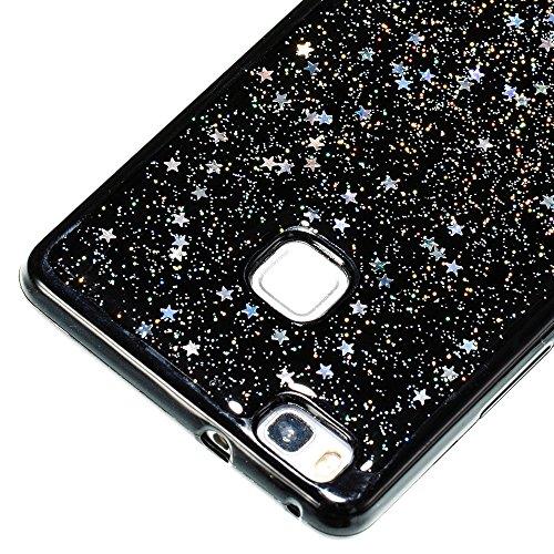 Funda Huawei P8 Lite, Huawei ALE-L21 Creativo Sparkly Estrellas Caja, MAOOY Luxury Negro Blando Goma Cubrir Ultra Thin Slim Anti-arañazos y Anti-choque Protectora para Huawei P8 Lite, Azul #1 Plata #1