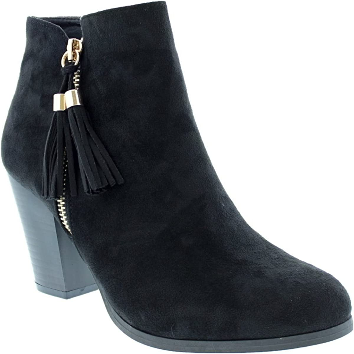 LOV Shoes Womens Tassle Accent Suede Ankle Bootie