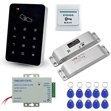 LIBO Full Set Kit of RFID Access Control Keypad 125KHz with DC12V Electric  Lock Electronic Bolt Lock, 3A Power Supply, Exit Button, 10pcs ID Key Cards