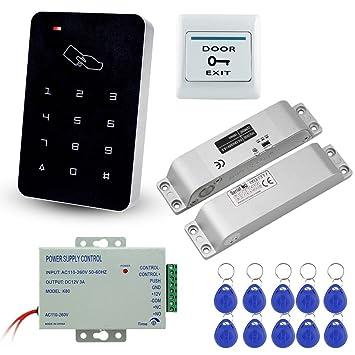 LIBO Kit de Conjunto Completo de Teclado de Control de Acceso RFID 125KHz con DC12V Cerradura Eléctrica Cerradura de Perno Electrónico, ...