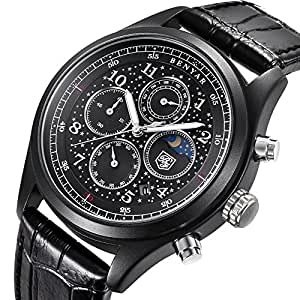 Men's black Leather Quartz Watches Chronograph Waterproof Date Display Analog Starry Sport Wrist Watches