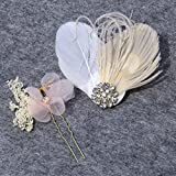 HailieBridal Women's White Ivory Feather Pink