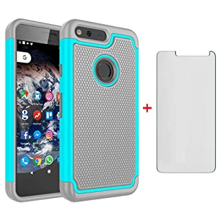 Google Pixel XL Phone Case 5.5 with Tempered Glass Screen Protector Rugged Dual Layer Heavy Duty Full Body Rubber Cell Accessories Slim Hard Cover for Pixle 1 XL One Pixel1 1XL 2016 Women Girls Men