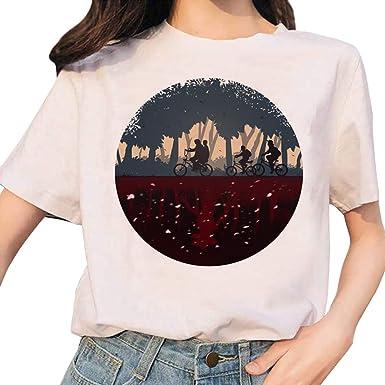 Camiseta Stranger Things Niña, Camiseta Stranger Things Temporada 3 Mujer Deporte Casual Impresión Manga T-Shirt Abecedario Chicas Camisa de Verano ...
