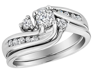 Diamond Interlocking Engagement Ring and Wedding Band Set 12 Carat