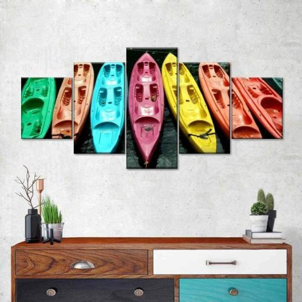 SDFFD Wall Art Pictures 5 Pieces Canvas Prints Modern Artwork Kayaks in Color Picture Hd Poster Wall Decor - Ready to Hang - for Home Decoration
