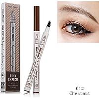 FangSi 2018 Tattoo Eyebrow Pen con cuatro puntas duraderas Waterproof Brow Gel para maquillaje de ojos (01#-es)
