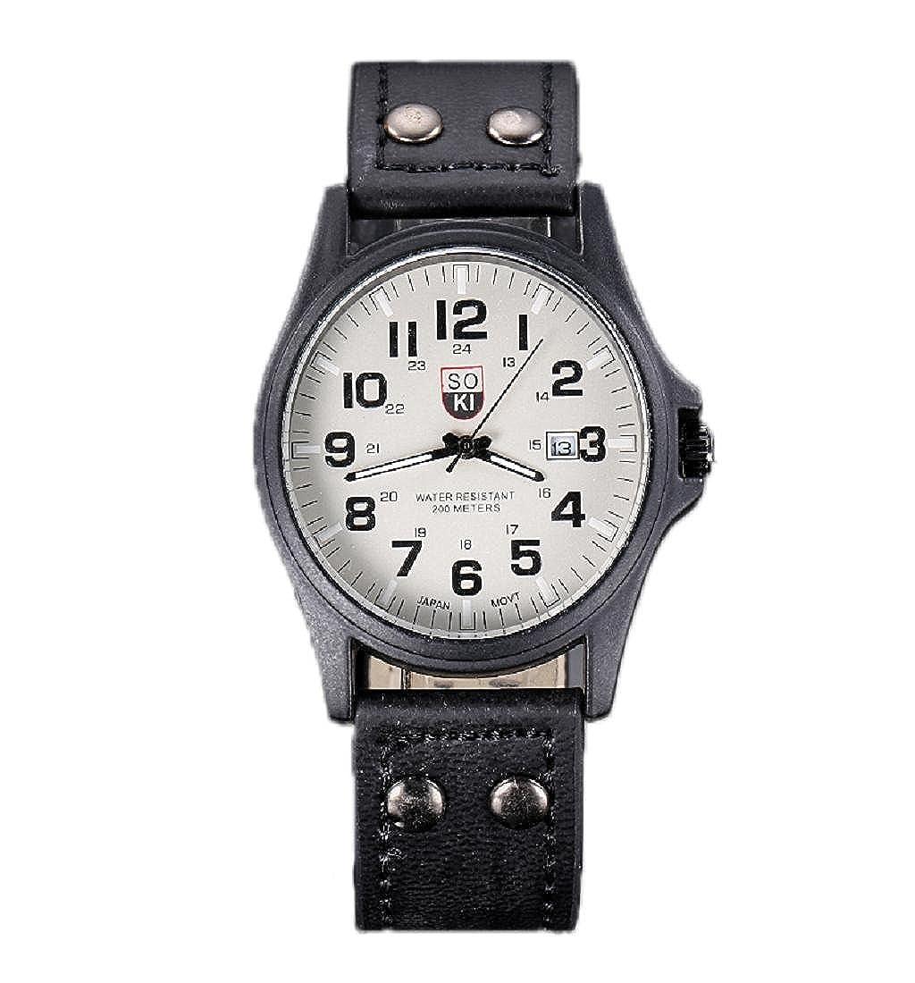 tenworldメンズビンテージクラシック防水日付FauxレザーストラップスポーツクォーツArmy Watchウォッチブラック B018HV70HO
