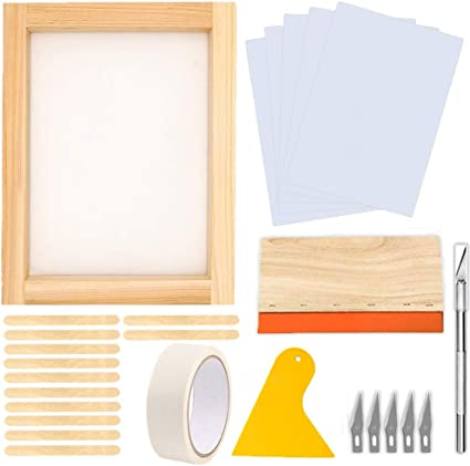 3 Pieces Screen Printing Accessories 8 x 10 Inch Wood Silk Screen Printing Frames with 2 Pieces Plastic Scraper for Basic Stencil Screen Printing