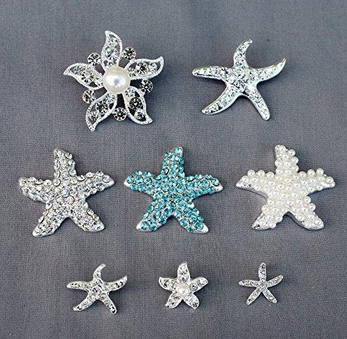 (16 Starfish Rhinestone Button Brooch Pearl Crystal Embellishment Wedding Brooch Bouquet Cake Decoration BT982)