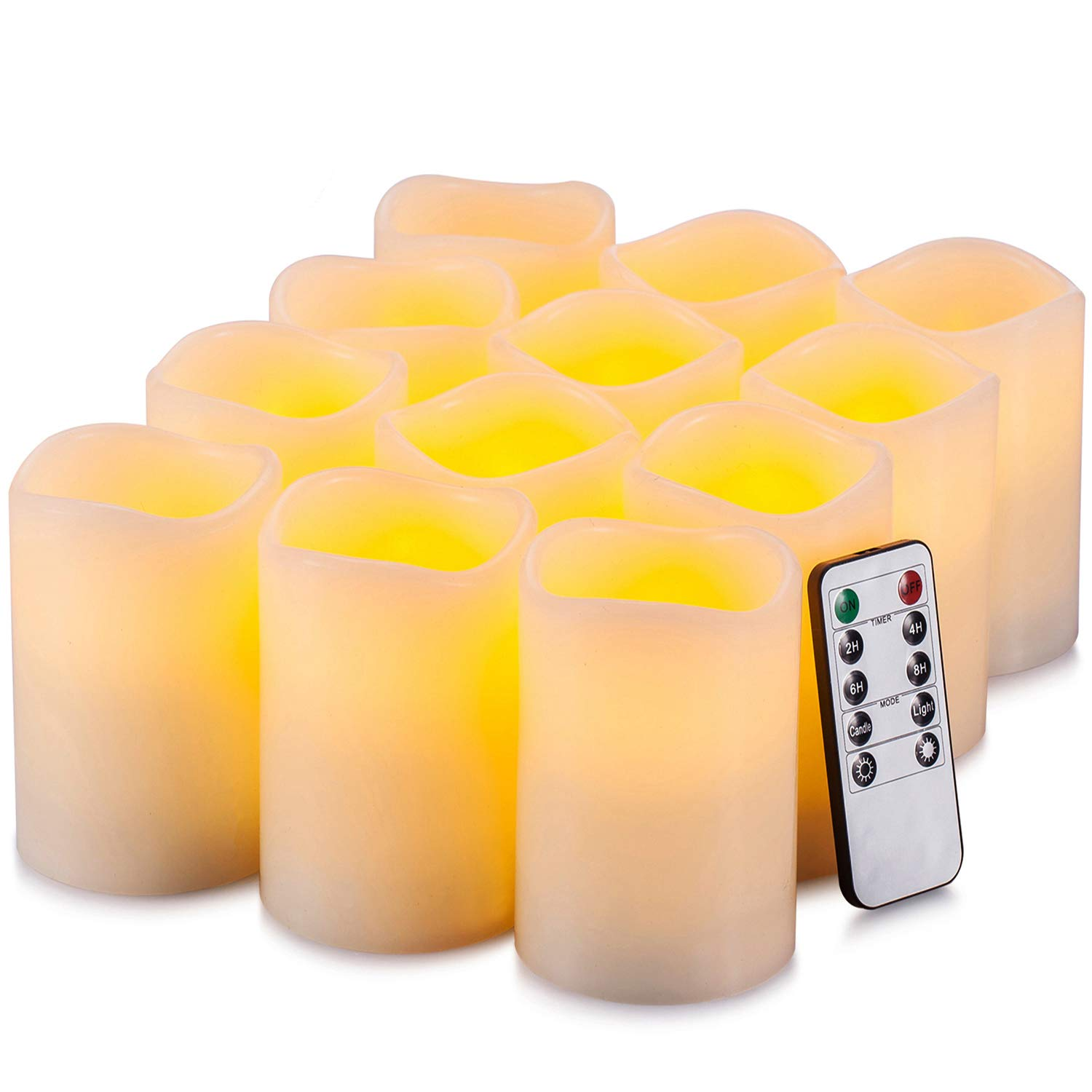 Yutime Flameless Candle Set of 12 (D 3'' x H 4'') Battery Operated LED Pillar Real Wax Flickering Candles with Remote Control Timer by Yutime