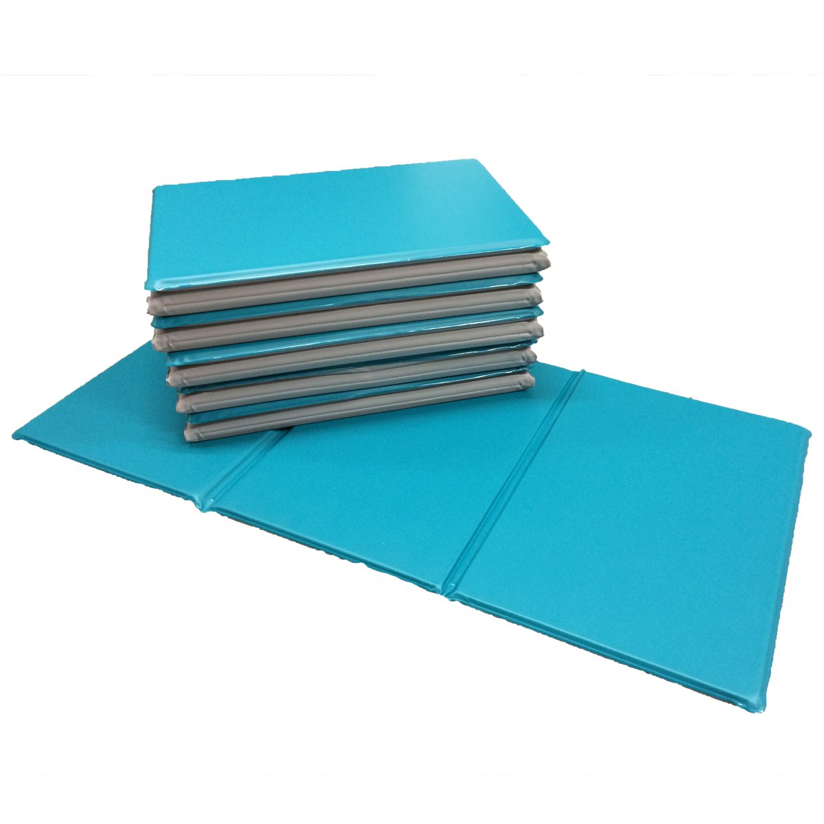 NEW 5x Triple Folding Nursery Sleep Mats in Aqua/Stone Grey for Children & Toddlers Active Learning 681