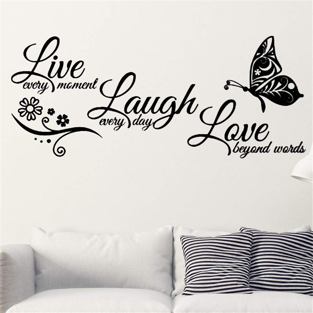 Black Words Home Decor Art Decal Live Laugh Love /& Butterfly Wall Sticker
