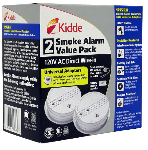 Kidde 1275 Hardwire Smoke Alarm with Hush Feature and
