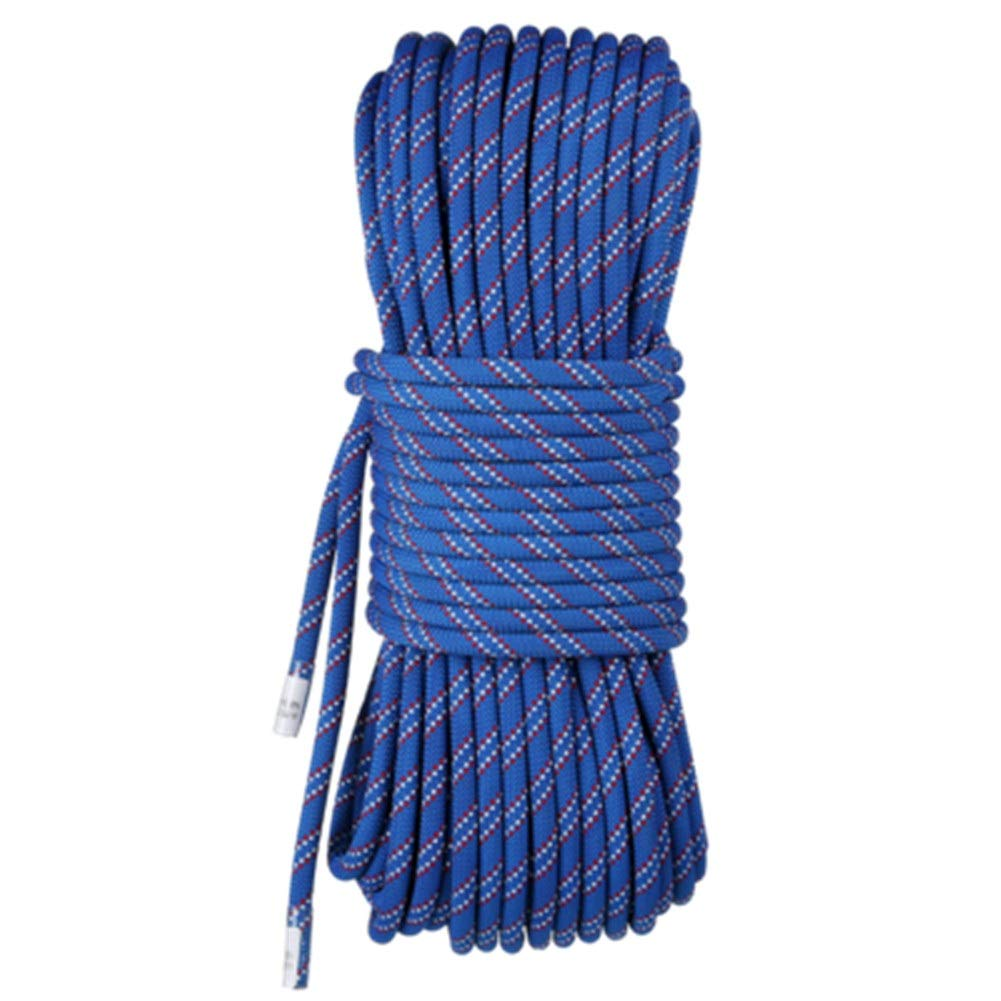 Bleu Escalade Corde Corde de 8 mm de diamètre pour usage domestique, corde de rappel, corde de rappel, corde de rappel, accessoires de randonnée en plein air, échappée, corde haute résistance avec mousquet 20m