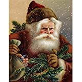 Wizland Christmas 5D DIY Diamond Painting Full Drill Round Resin Beads Pictures Santa Claus of Crystals Diamond Dotz Kits,Arts, Crafts & Sewing Cross Stitch for Festival Home Decor