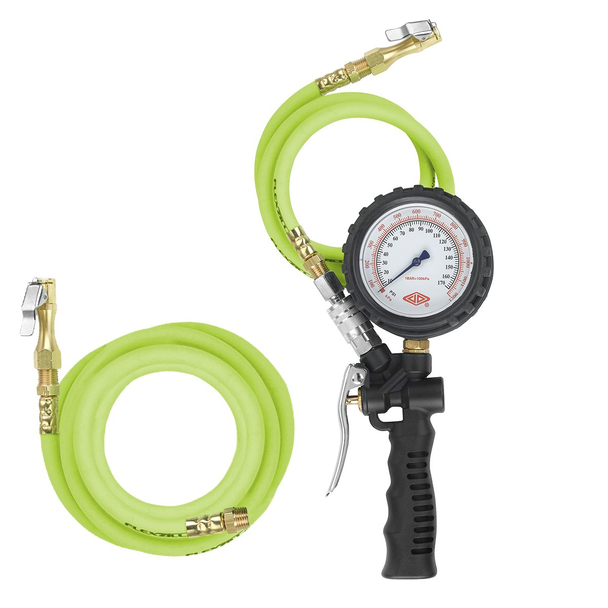 Flexzilla Combo Inflator Kit with 3 ft. and 15 ft. Quick Connect Hose, Lock-On Chuck (0-170 PSI) - AL2025FZ-2