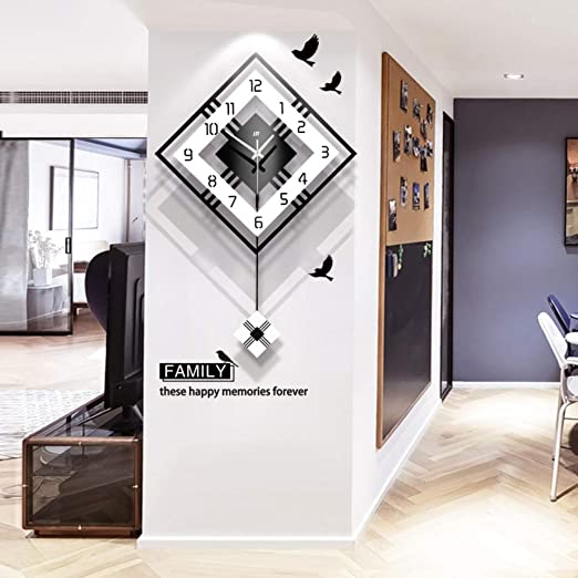 Contemporary Beech /& Black Pendulum Wall Clock w Glass Dial