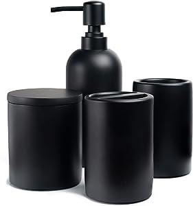 Jo Lavie Bathroom Accessories Set, 4 Pcs Complete Resin Bathroom Accessory - Matte Black, Modern Decor Vanity Organizer Lotion Soap Dispenser Apothecary Jar Toothbrush Holder Toothbrush Cup