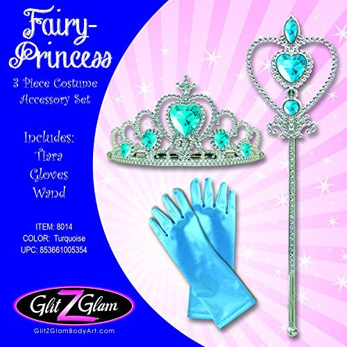 [Fairy Costume Princess Costume 3-Piece Accessory Set - Frozen inspired Turquoise] (Tinker Bell Child Tiara)