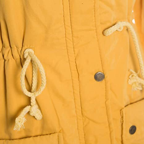 Amazon.com: DMZing Women Parka Sweatshirt Tops Long Coat Outerwear Jacket Collar Hooded Casual Fashion Pocket Slim Solid (Yellow, M): Kitchen & Dining
