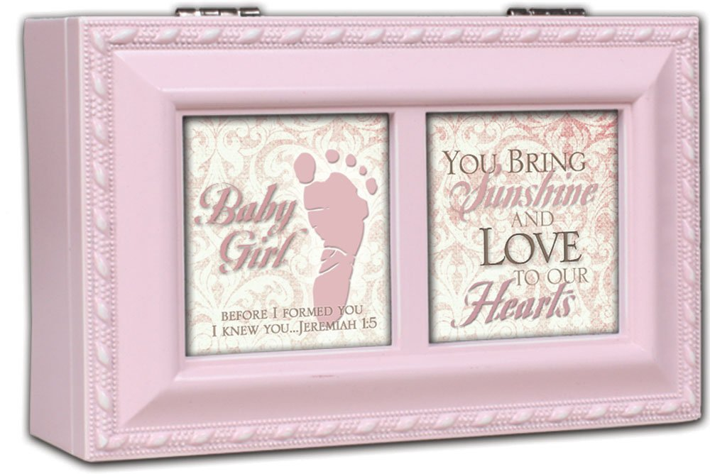 Cottage Garden Baby Girl Distressed Pink Petite Music Box/Jewelry Box Plays Jesus Loves Me