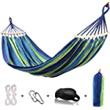 HappyGo Camping Hammock with Tree Straps Cotton Canvas Beach Swing Bed with Spreader Bar Tree Straps for Backyard, Porch…