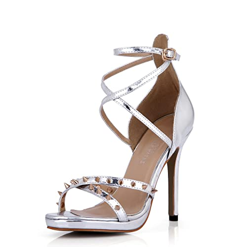 d3355bb65 DolphinGirl Women Fashion Silver Rivet Open Toe Sandals 12CM High Heels  with Ankle Strap Buckle Dress Pumps Stiletto Shoes SM00098  Amazon.co.uk   Shoes   ...