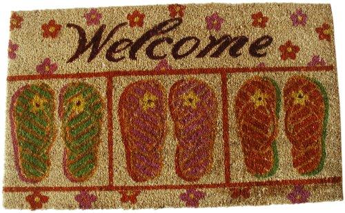 Geo-Crafts-G107-PVC-Backed-Coco-Doormat-Welcome-with-Flip-Flops